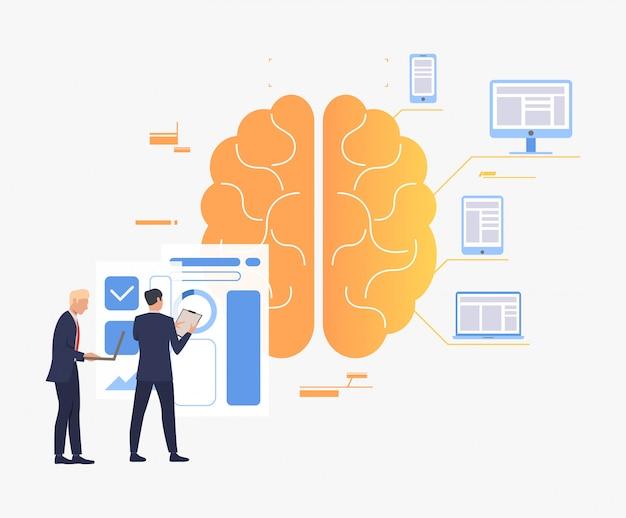 Empresarios trabajando, cerebro, gráficos y dispositivos digitales. vector gratuito