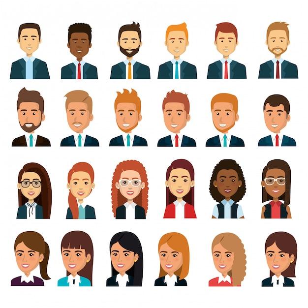 Empresarios trabajo en equipo avatar conjunto ilustración vector gratuito