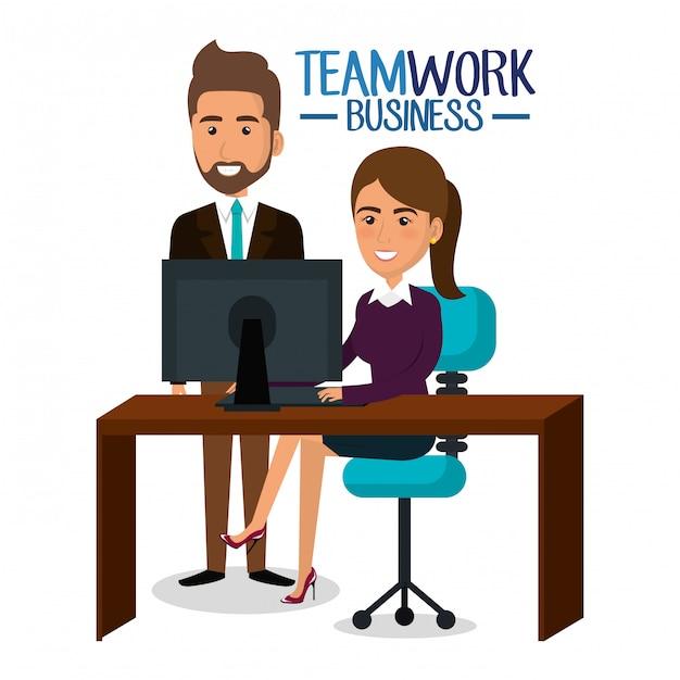 Empresarios trabajo en equipo en la ilustración del lugar de trabajo vector gratuito