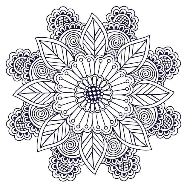 Encaje redondo ornamental con damasco y elementos arabescos. vector gratuito