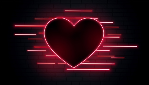 Encantador romántico corazón de neón vector gratuito