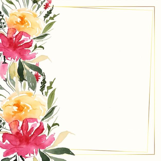 Encantadora decoración colorida flor de acuarela con espacio de texto vector gratuito