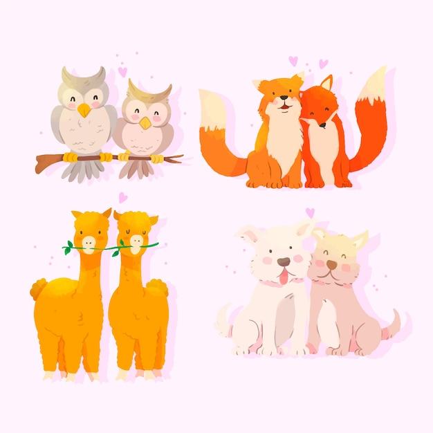 Encantadora pareja de animales de dibujos animados juntos vector gratuito