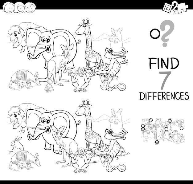 Encuentra la diferencia con animales para colorear | Descargar ...