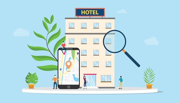 Encuentra hotel o busca el concepto de hoteles con mapas de teléfonos inteligentes ubicación de gps Vector Premium