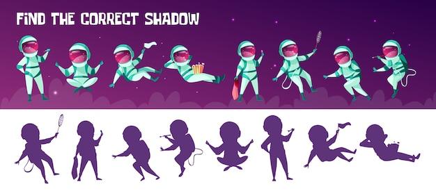 Encuentra el juego de educación de sombra apropiado para niños. corrección de la prueba de coincidencia de silueta vector gratuito