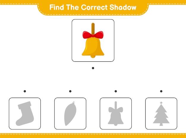 Encuentra la sombra correcta. encuentra y combina la sombra correcta de golden christmas bells. Vector Premium