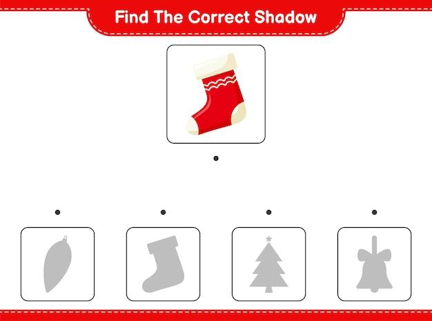 Encuentra la sombra correcta. encuentra y combina la sombra correcta de socks. Vector Premium
