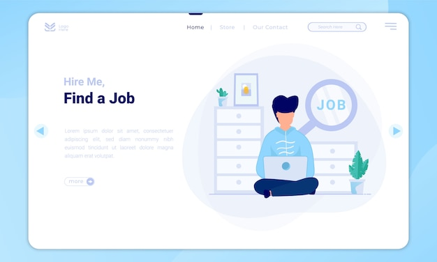 Encuentre una ilustración de trabajo en la plantilla de página de destino Vector Premium
