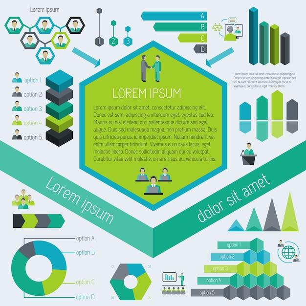 Encuentro de sociedad de negocios corporativos elementos infográficos ilustración vectorial vector gratuito