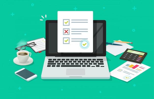 Encuesta de formulario en línea en computadora portátil y mesa de trabajo Vector Premium