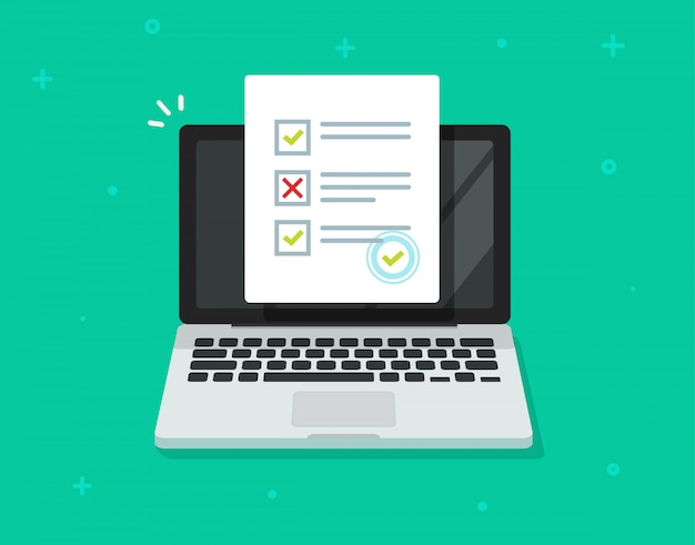 Encuesta de formulario en línea en computadora portátil o examen de prueba de internet aislado Vector Premium