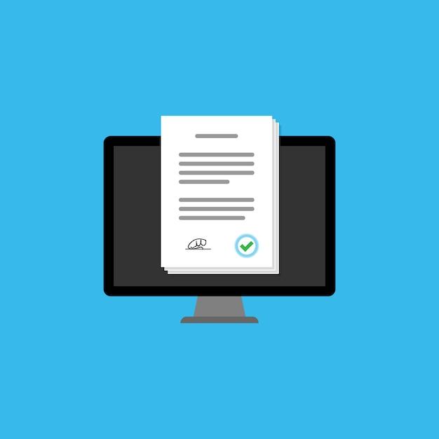 Encuesta en línea en el icono de la computadora Vector Premium