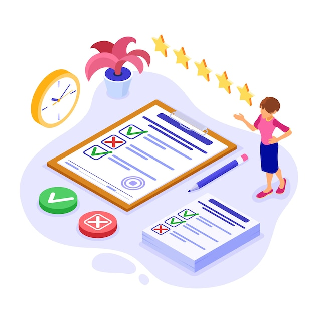 Encuesta de retroalimentación o banner de prueba con carácter isométrico. retroalimentación en línea. formulario de cuestionario en el portapapeles. investigación de encuestas. isometrico Vector Premium