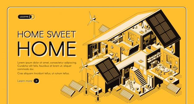 Energía autosuficiente casa isométrica vector web banner, landing page. vector gratuito