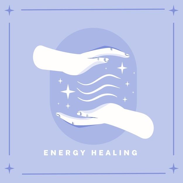 Energía curativa manos medicina alternativa vector gratuito