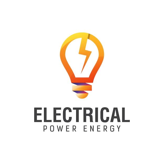 Energía eléctrica con plantilla de diseño de logotipo degradado de bombilla Vector Premium