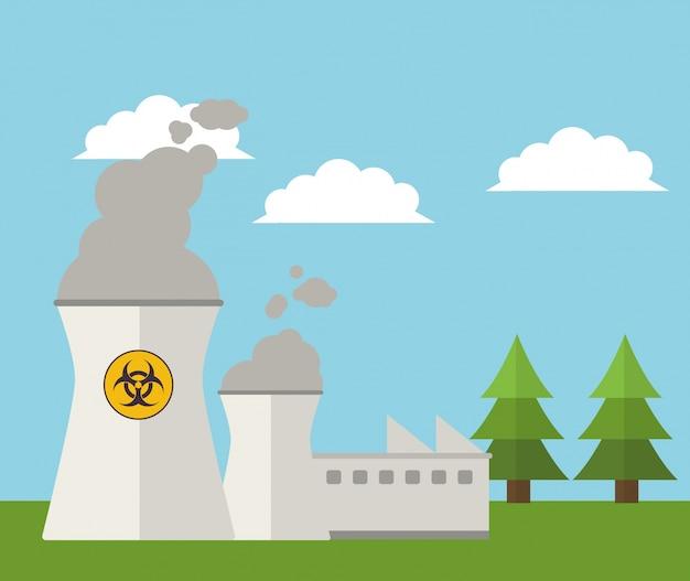 Energía Nuclear Planta Energía Paisaje Descargar Vectores Premium