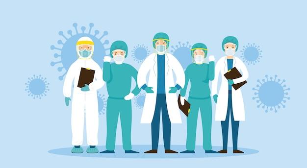 Enfermedad por coronavirus, hospitalaria, sanitaria y médica Vector Premium