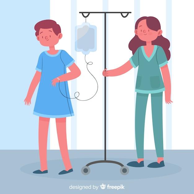 Enfermera ayudando a un paciente dibujado a mano vector gratuito