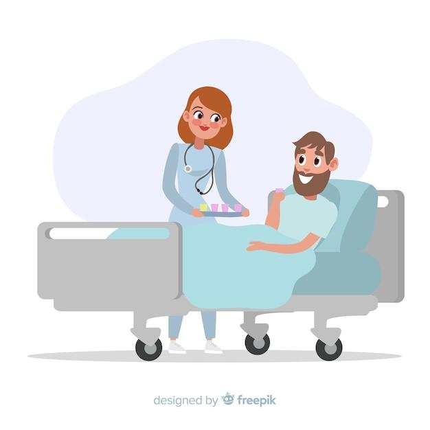 Enfermera ayudando a paciente enfermo vector gratuito