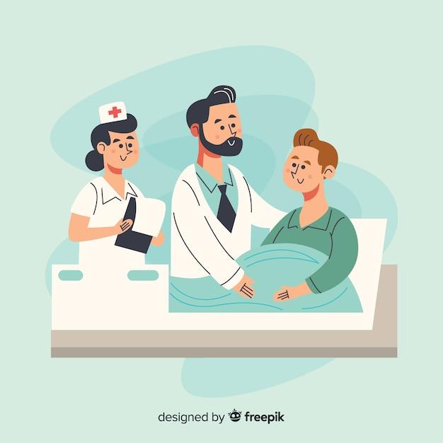 Enfermera dibujada a mano ayudando a paciente vector gratuito