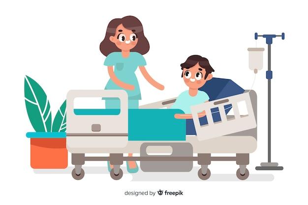 Enfermera flat ayudando paciente vector gratuito