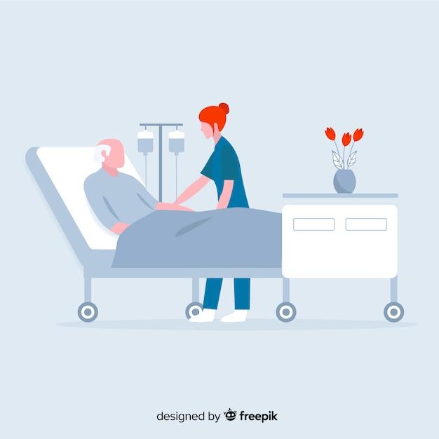 Enfermera con paciente en diseño plano vector gratuito