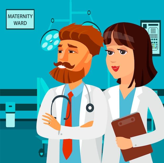 Enfermera sonriente, personajes de dibujos animados paramédico. Vector Premium