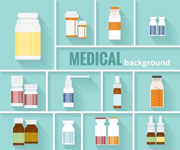 Enfriar varios frascos de medicamentos de dibujos animados para el diseño gráfico de antecedentes médicos. vector gratuito