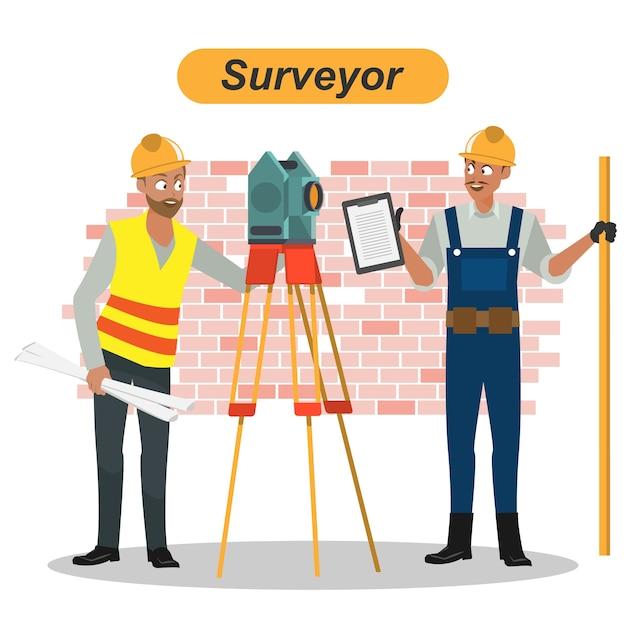 Engineers cartoon set worker architect and surveyor group Vector Premium