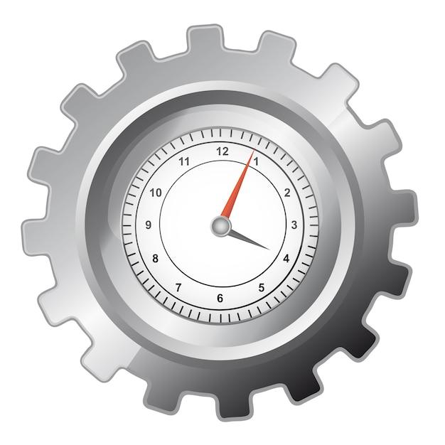 Engranaje de plata con reloj sobre fondo blanco Vector Premium
