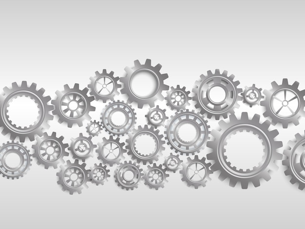 Engranajes abstractos sobre fondo blanco Vector Premium