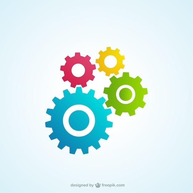 Engranajes coloridos iconos Vector Premium