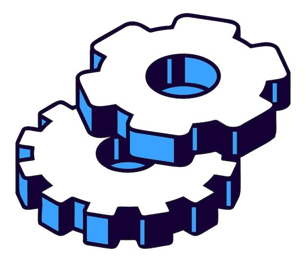 Engranajes isométricos vector gratuito