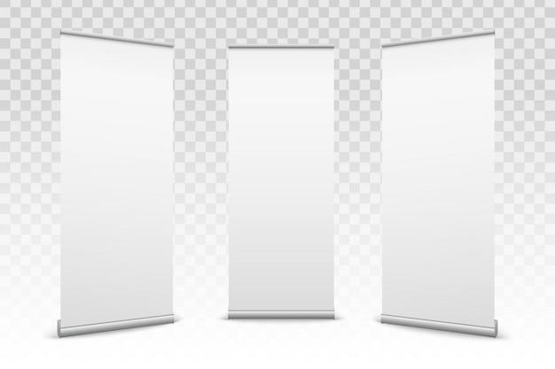 Enrolle para arriba las banderas fondo de papel de la textura de la lona. Vector Premium