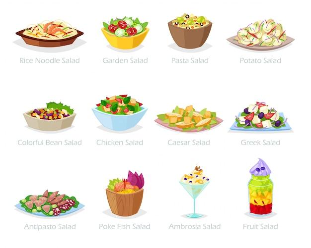 Ensalada de alimentos saludables con verduras frescas tomate o patata en ensaladera o ensalada para la cena o el almuerzo conjunto de ilustración de dieta de comida orgánica sobre fondo blanco Vector Premium
