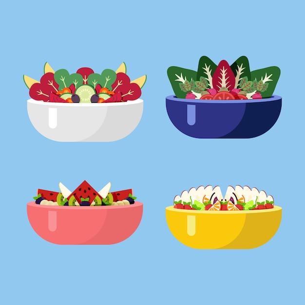 Ensaladas de verduras frescas en tazones de diferentes colores vector gratuito