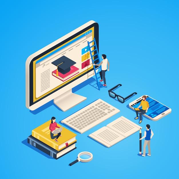 Enseñanza isométrica en línea. aula de internet, estudiante aprendiendo en clase de informática. ilustración 3d de graduado universitario en línea Vector Premium