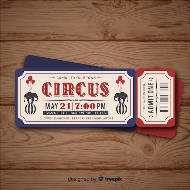 Entrada vintage de circo vector gratuito