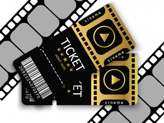 Entradas para asistir a un evento o película con fondo transparente. Vector Premium