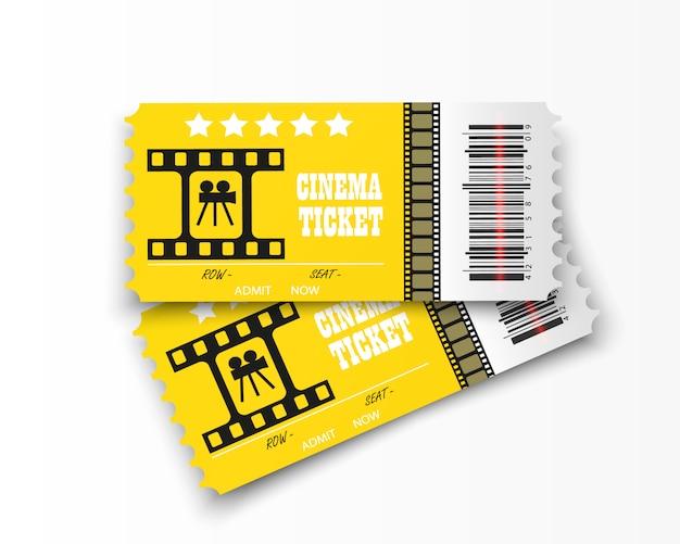 Entradas de cine aisladas sobre fondo transparente. entrada de cine realista. Vector Premium
