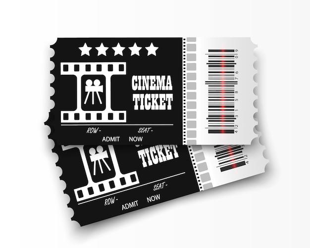 Entradas de cine en fondo transparente. entrada de cine realista. Vector Premium