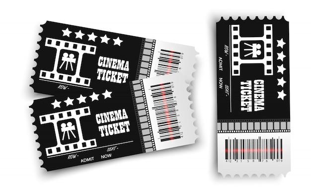Entradas de cine de vectores aislados. entrada de cine realista. Vector Premium