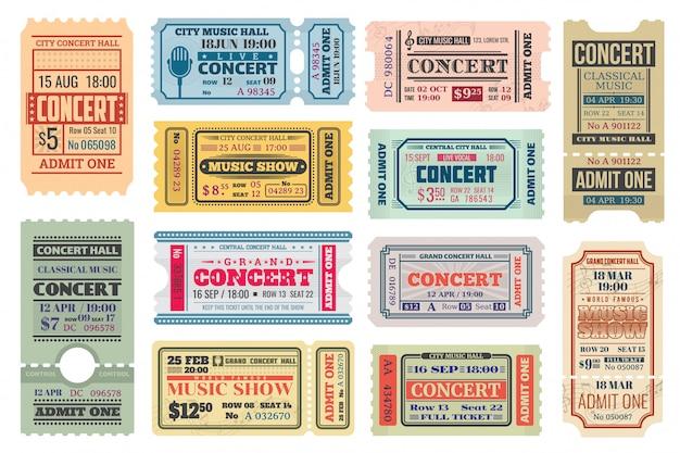 Entradas retro para conciertos de música, admite conjunto de plantillas Vector Premium