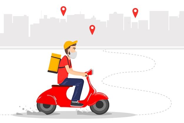 La entrega de alimentos se realiza por mensajería en un ciclomotor rojo con comida preparada. mensajero en máscara protectora. Vector Premium