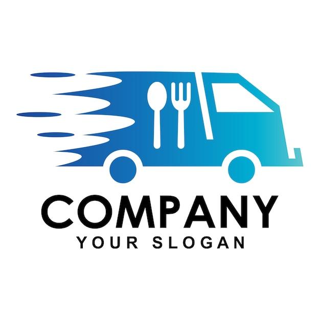 Entrega de comida rápida con logo de auto Vector Premium