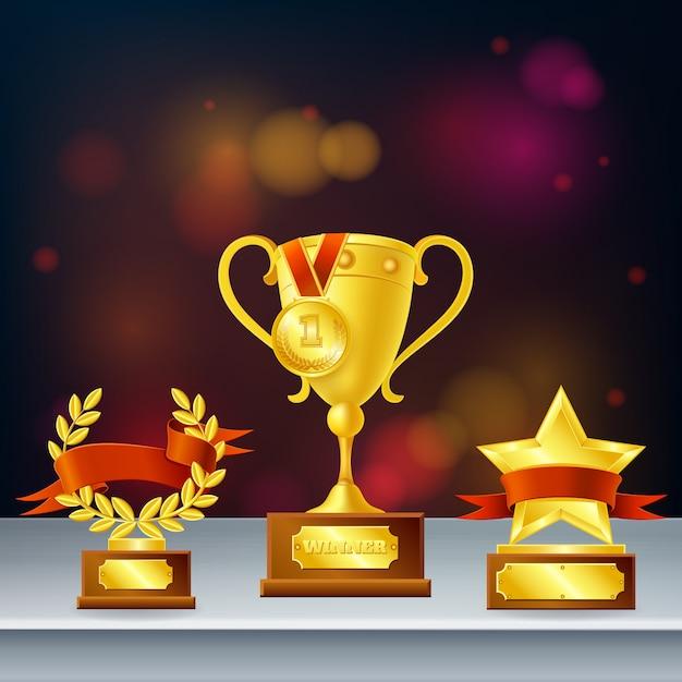 Entrega composición realista con trofeos para ganador, corona de laurel y estrella sobre fondo oscuro borroso vector gratuito