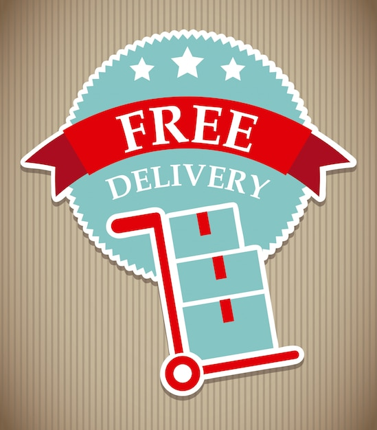 Entrega gratuita sobre fondo lineal ilustración vectorial Vector Premium