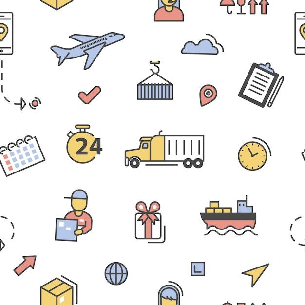 Entrega logística servicio de envío lineart de patrones sin fisuras. Vector Premium